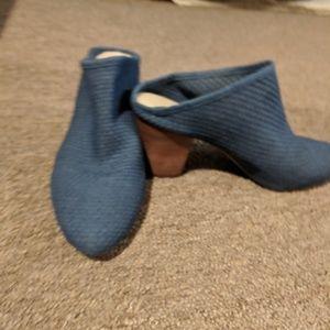 Denim blue heeled slide